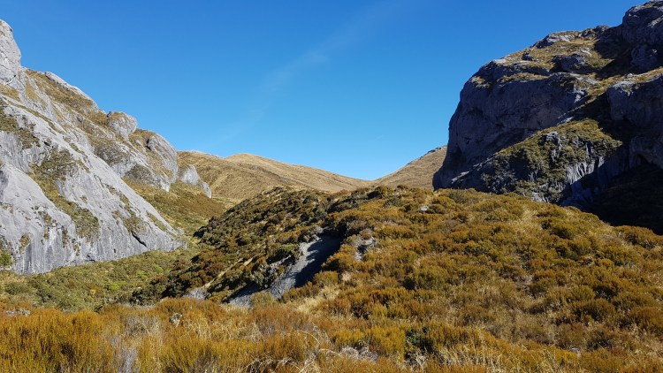 Heading off towards Mount Owen from Granity Pass hut