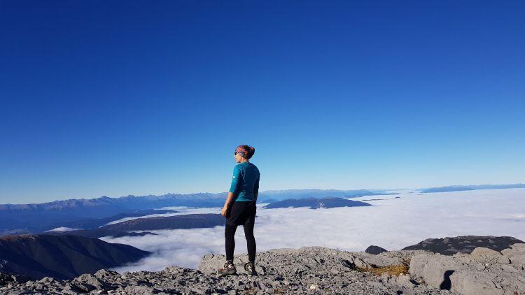 Tinytramper on Mount Owen summit Kahurangi National Park