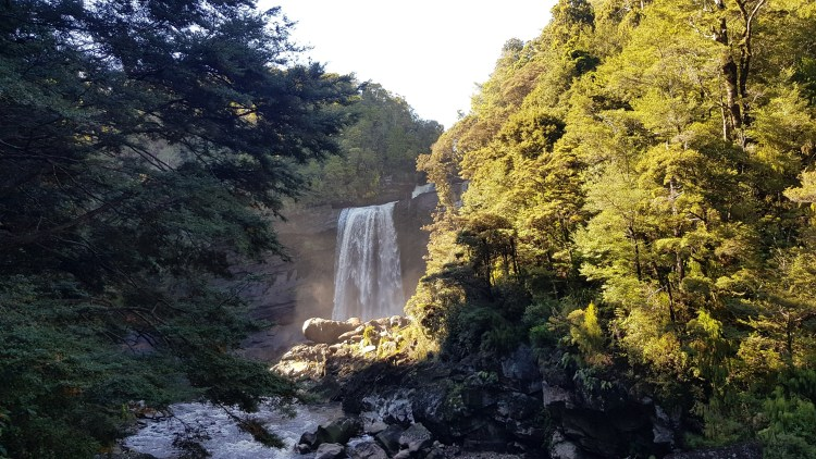 First view of the Mangatini Falls on the Charming Creek Walkway