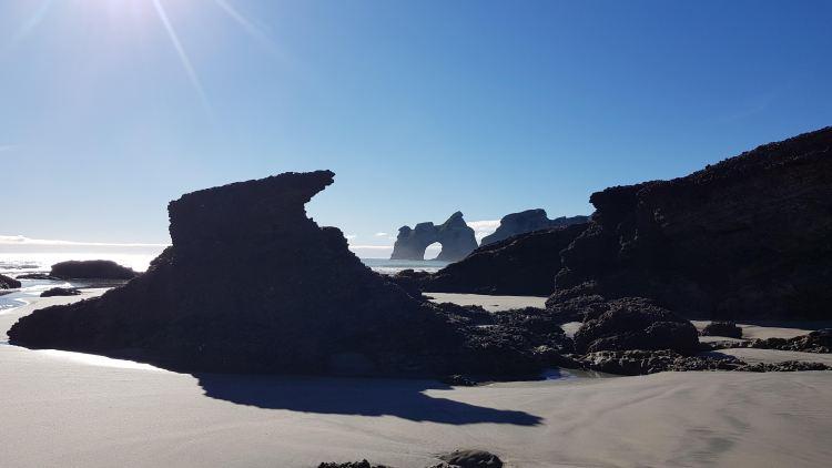 Wonderful rock formations on Wharariki Beach