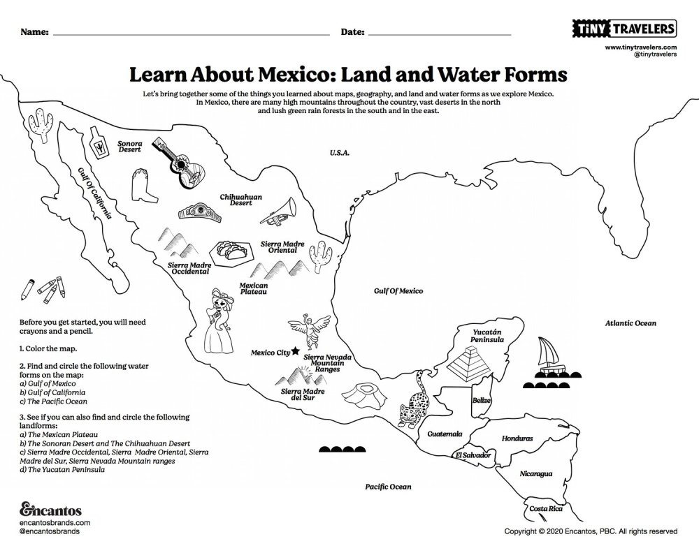 medium resolution of Learn About Mexico: Land and Water Forms; Intro to Spanish – Tiny Travelers