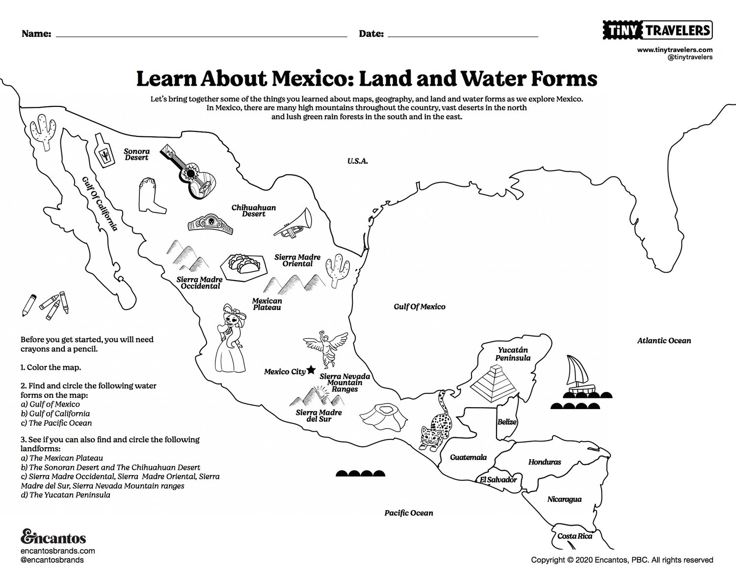hight resolution of Learn About Mexico: Land and Water Forms; Intro to Spanish – Tiny Travelers
