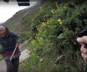 Crazy Nepali woman attacks British family on Annapurna Circuit, Nepal
