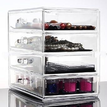 hqdeal acrylique transparent de cosma c tique make up holder organisateur avec 4 tiroirs professionnel espace extra large et plus grande fvgbhnmkghn