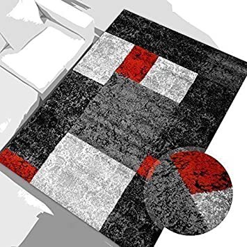 tapis moderne moda a ko tex motif du carreau rouge gris noir des dimensions diffa c rentes 120 cm x 160 cm jhgfdjhgfnbv