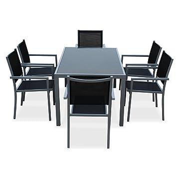 alice 39 s garden salon de jardin en aluminium et textilene capua gris noir 6 places 1 grande table rectangulaire 6 fauteuils empilables fr shop