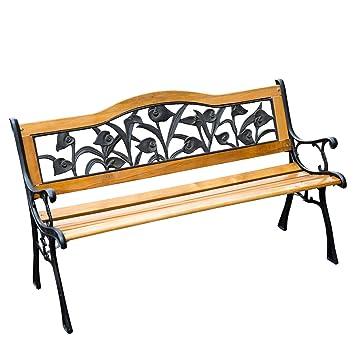 banc banquette de jardin terrasse parc bois et fonte meuble de jardin 3 places 126x52x76cm charge max 150kg neuf 33 fr shop
