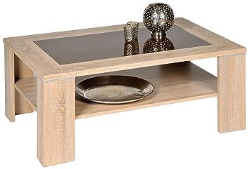 alfa tische m2263 santos table basse en bois de chaªne sonoma et verre brun 100 x 65 cm jdfhbkjdnkh