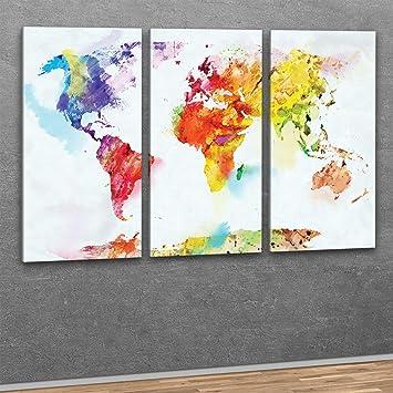 XXL Kunstdruck  3teilig Wand Bilder bunte Weltkarte auf
