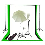Studiofx Photography Video Studio Triple Lighting Light Kit / (3) 10' X 10' Ft Muslins Backdrop (Black White Green) / Background Stand / 2 White Umbrellas 33