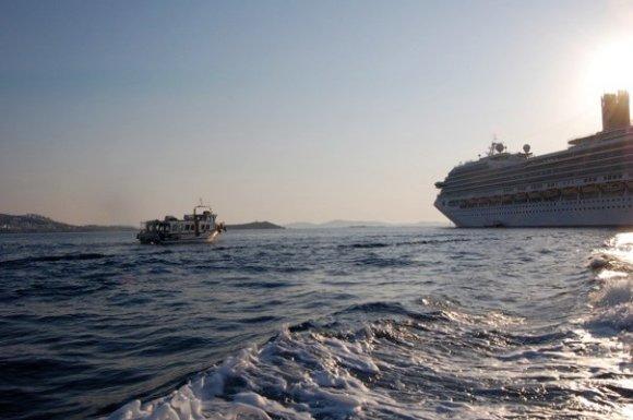 Anchoring near Mykonos, Greece