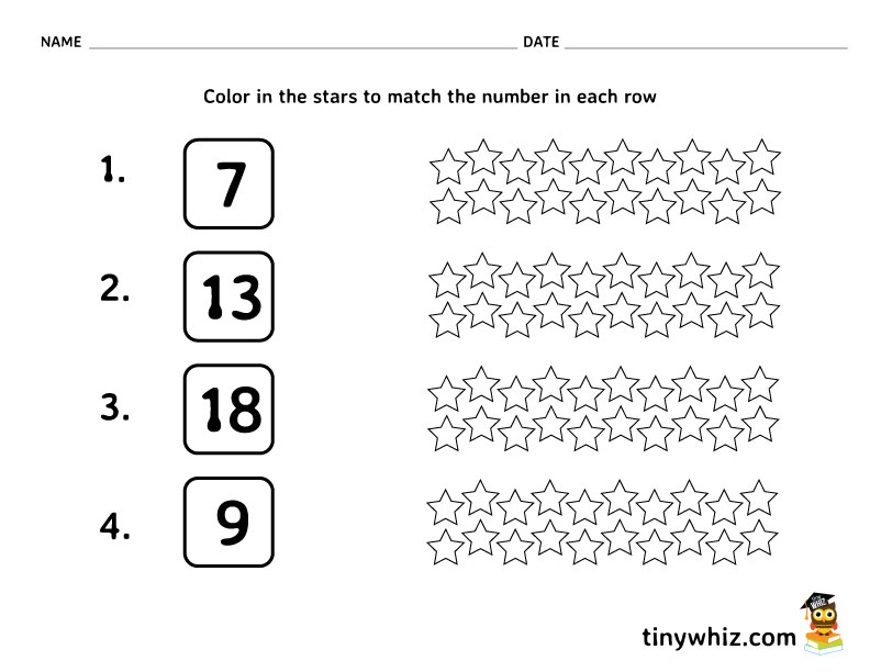 Free Math Worksheet Color In The Stars Tiny Whiz