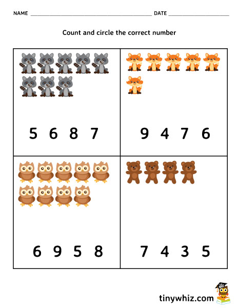 Math Free Counting Worksheet For Pre-K and Kindergarten | Tiny Whiz