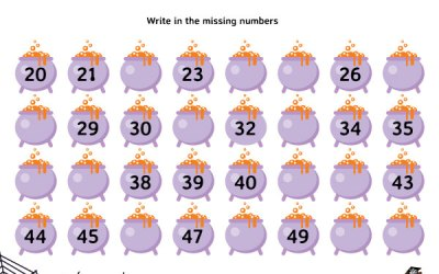 Free Printable Halloween Write The Missing Number Worksheet