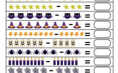 Free Printable Halloween Subtraction Math Worksheet For Kids