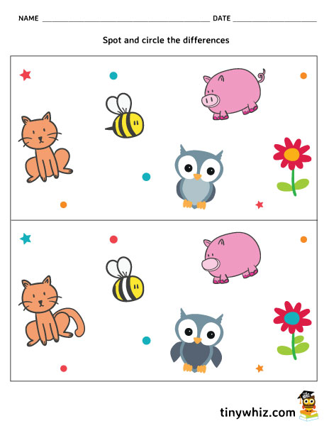 Spot The Difference Worksheet For Kindergarten