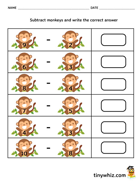 Free Printable Math Subtraction Worksheet