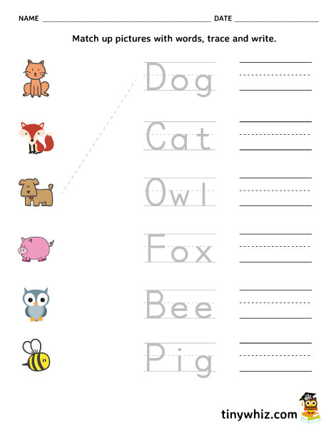Free Printable Spelling Worksheet Match, Trace, Write ...