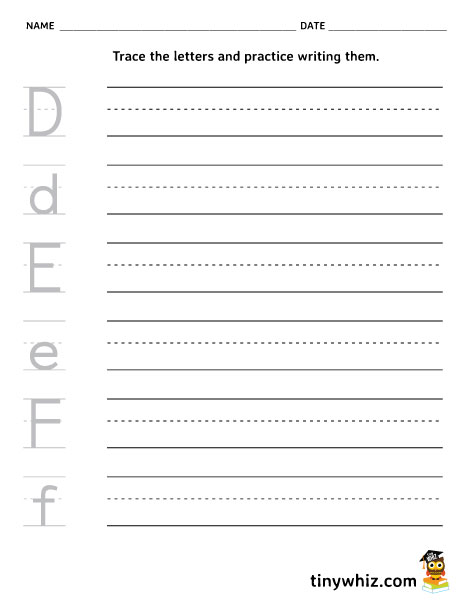 Free Printable D, E, F Writing Worksheet For Kindergarten ...