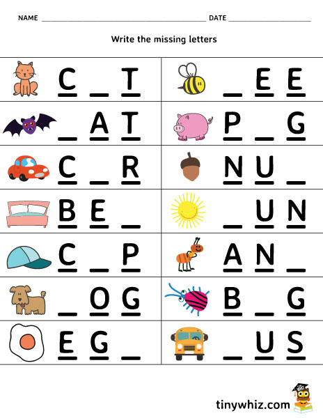 free printable worksheet write the missing letter 3 letter words