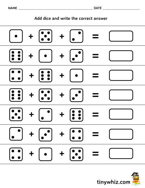 Free Printable Worksheet Adding 3 Dice