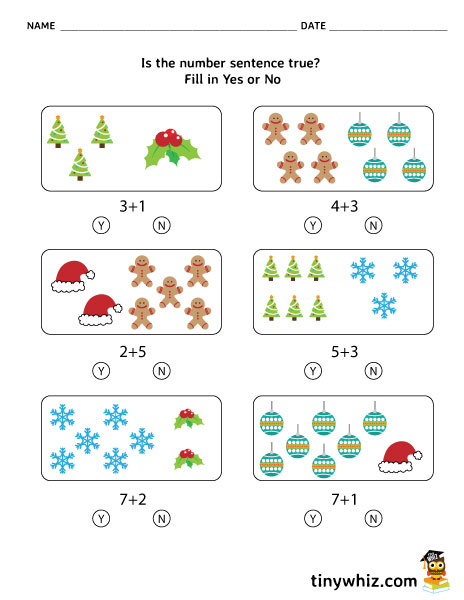 Free Printable Math Sentences True Or False Holiday Worksheet