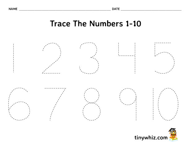 Free Worksheet For Kids - Trace Numbers 1-10 PreK   Tiny Whiz