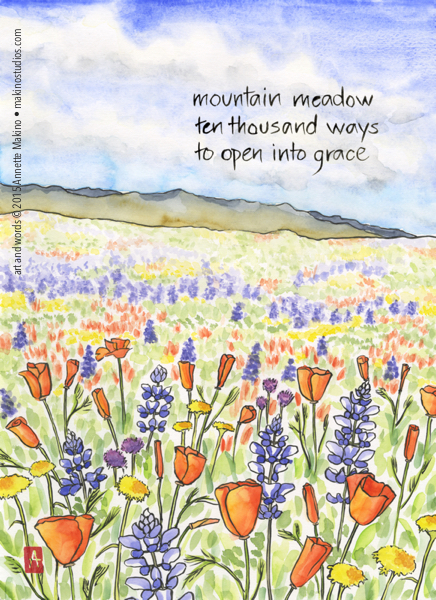 Watercolor painting of a meadow with the text of a haiku against the sky