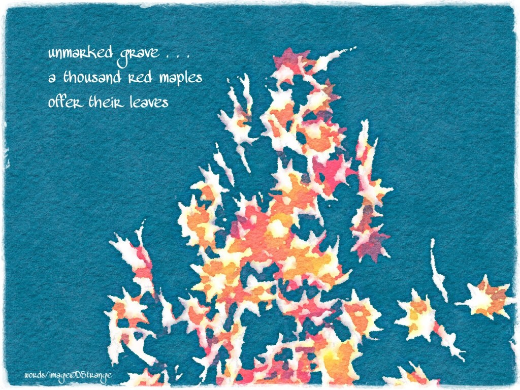 nearly abstract watercolor painting of fall leaves on a blue background with the text of a haiku in the upper left corner