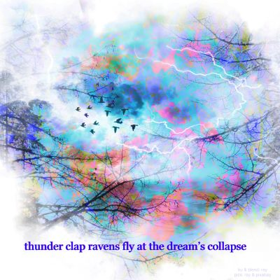 multicolored, dreamy image with bare branches of trees, lightning, and a flock of black birds