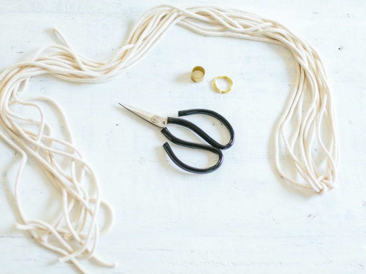 Macrame cord and scissors