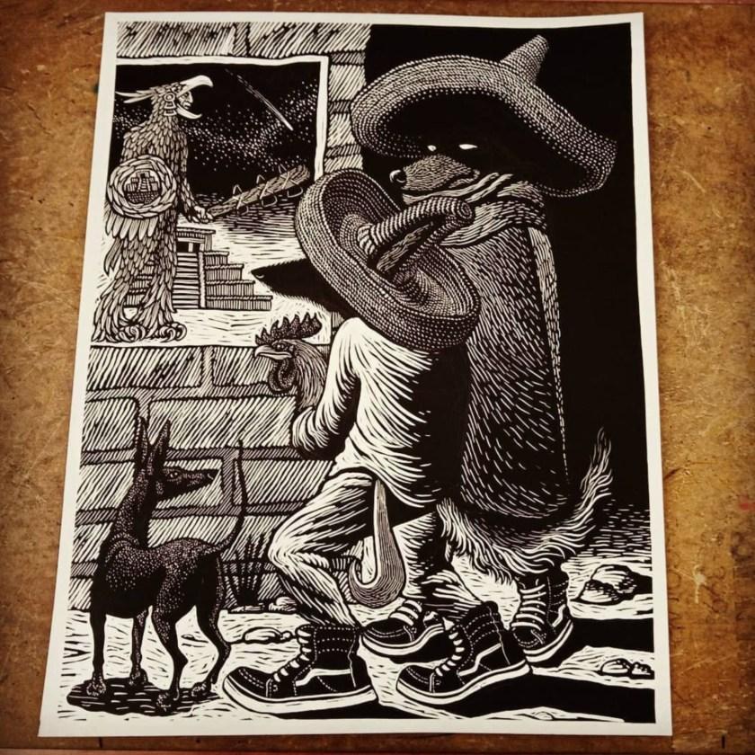 Sergio Sanchez Santamaria linocut artist