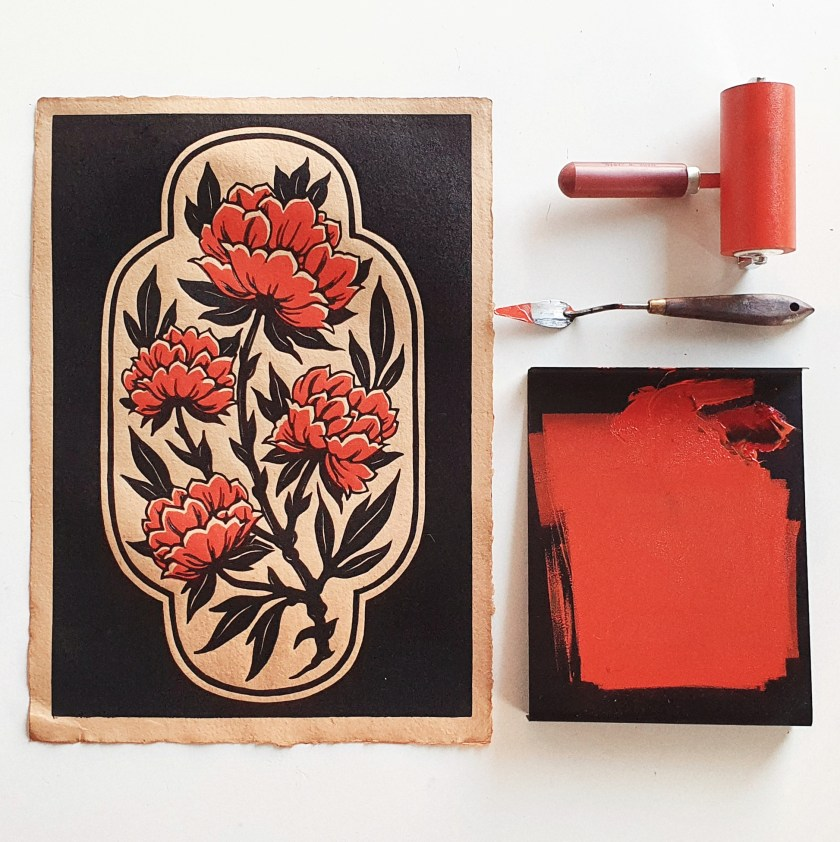 Maarit Hanninen Autumn Blossoms linocut print