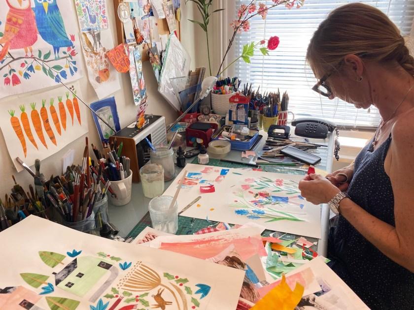 Tracey English collage art studio