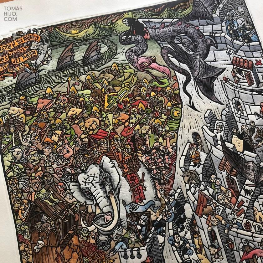 Tomas Hijo Battle of Pelennor linocut print painted