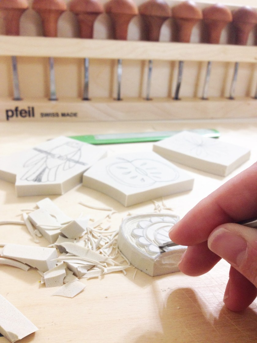 Sarah K Patro linocut stamp pfeil tools