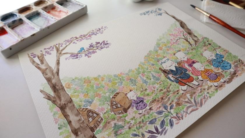 Flor Kaneshiro Senda watercolor illustration