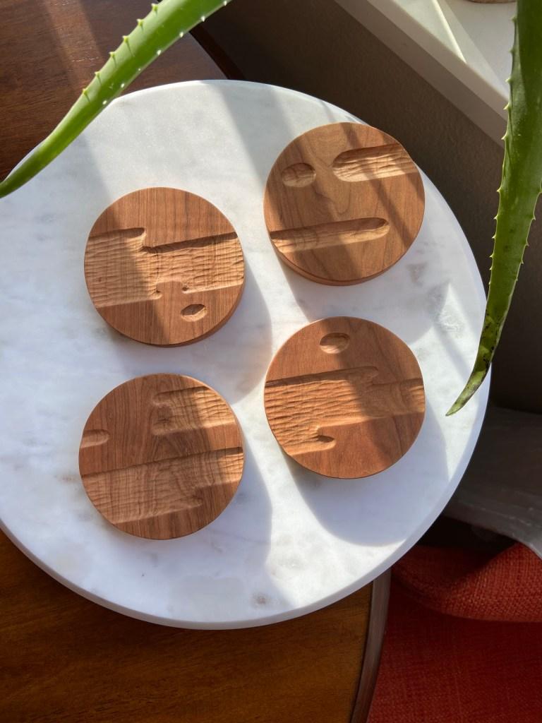 Anya Walker carved coasters