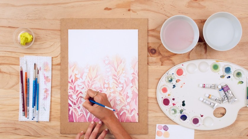 Negative watercolor painting for botanical art illustrations