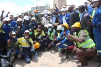 Lubambe Miners enjoying a photo session with President Edgar Lungu today January 7, 2021. Picture by JOHN SAKALA