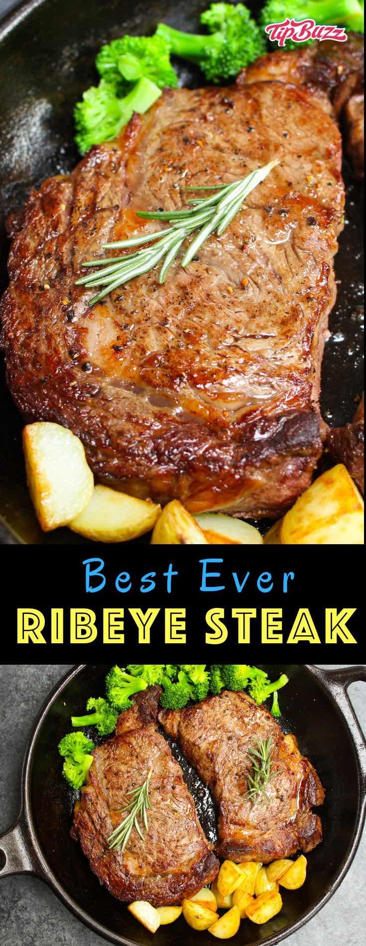 Pan Seared Rib Eye Steak Recipe - TipBuzz
