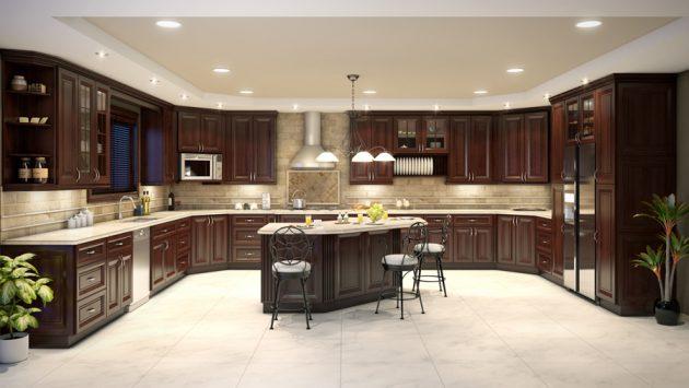 Kitchen Cabinet dengan Warna Gelap Lantai Terang
