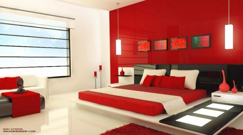 Kamar Tidur Minimalis Cat Warna Merah