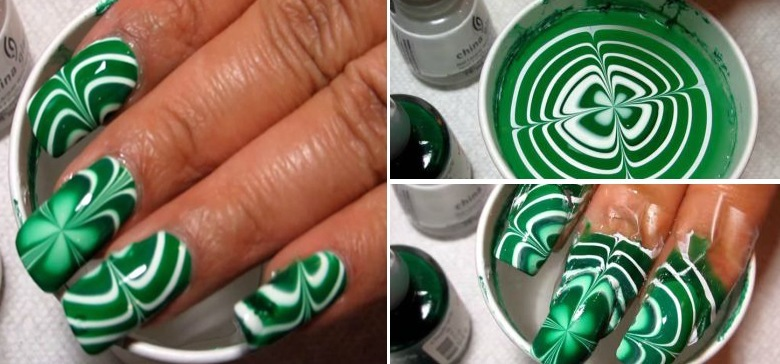 Simple St Patrick S Day Diy Water Marble Nail Art Tiphero