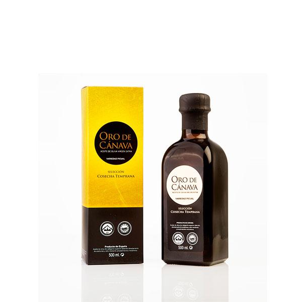 Foto aceite oro de cánava oliva virgen extra vidrio 500 ml