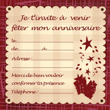 carte invitation anniversaire pour