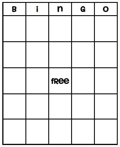 empty bingo sheets