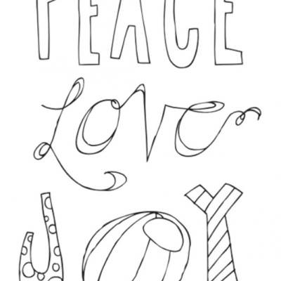 Peace Love Joy Free Printable Poster {Christmas Coloring