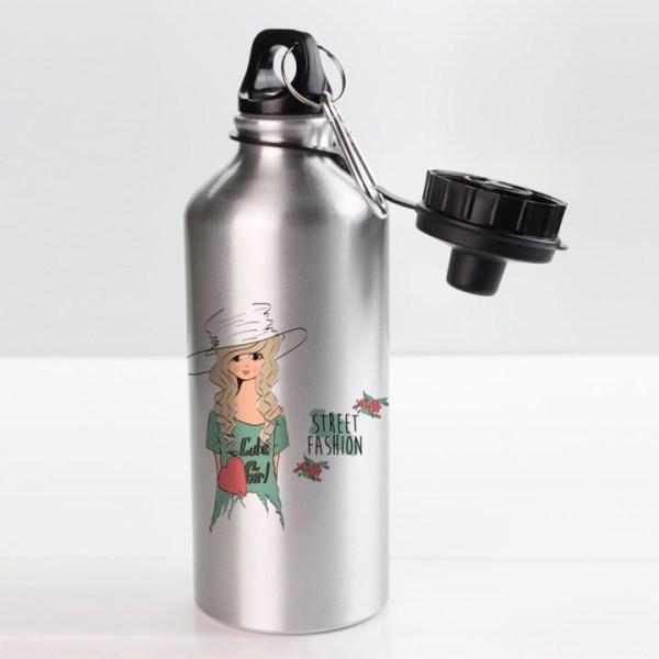Спортивная бутылка Серебро с печатью
