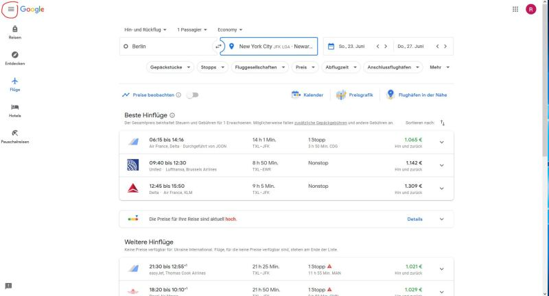 Google Flights - Hauptmenü